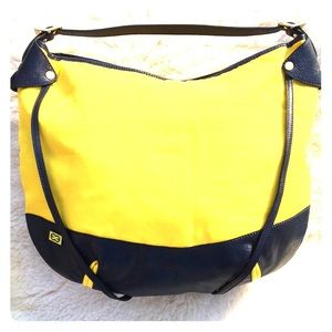 New Escada Hobo Purse made in Italy yellow/navy